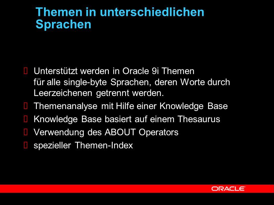  Unterstützt werden in Oracle 9i Themen für alle single-byte Sprachen, deren Worte durch Leerzeichenen getrennt werden.  Themenanalyse mit Hilfe ein