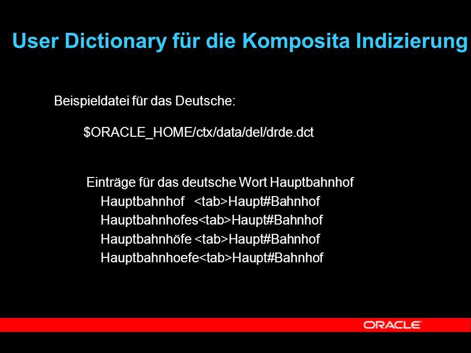  Beispieldatei für das Deutsche: $ORACLE_HOME/ctx/data/del/drde.dct  Einträge für das deutsche Wort Hauptbahnhof  Hauptbahnhof Haupt#Bahnhof  Haup