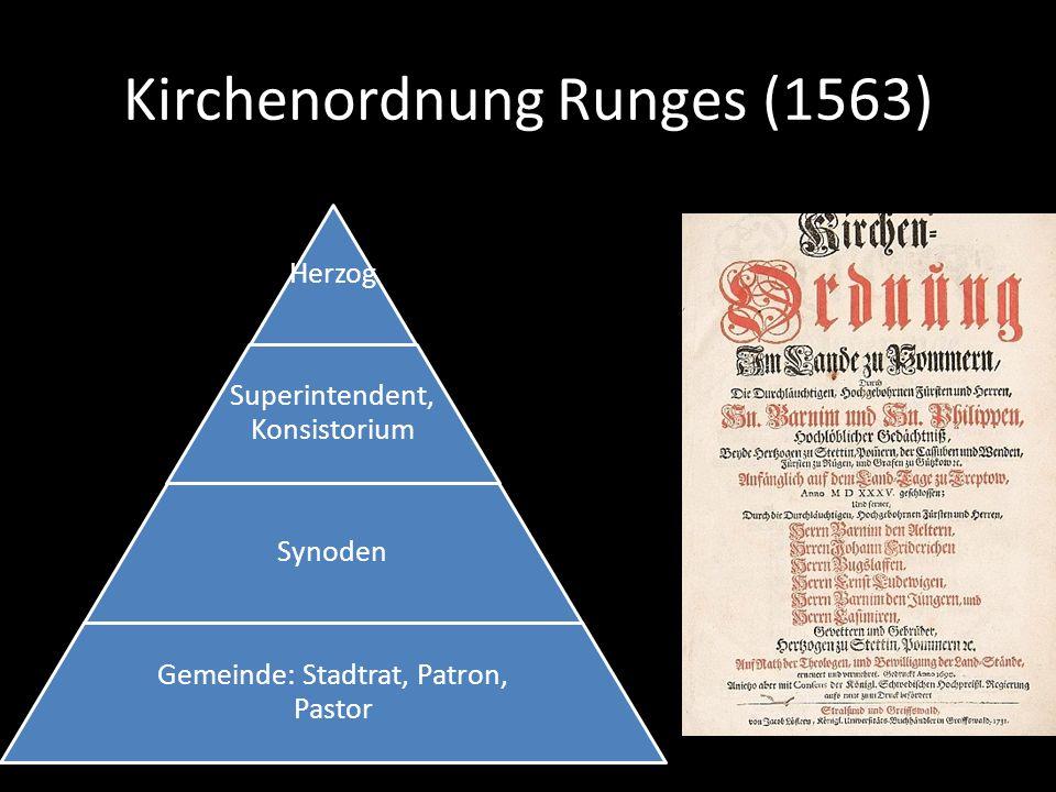 Kirchenordnung Runges (1563) Herzog Superintendent, Konsistorium Synoden Gemeinde: Stadtrat, Patron, Pastor