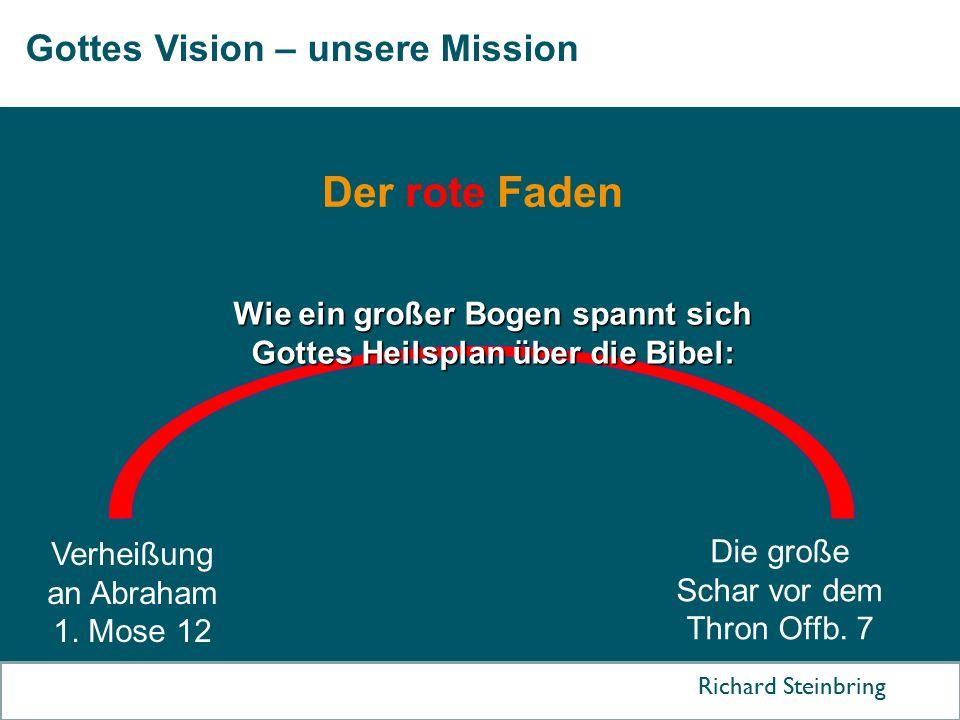 Gottes Vision – unsere Mission Richard Steinbring Der rote Faden Verheißung an Abraham 1. Mose 12 Die große Schar vor dem Thron Offb. 7 Wie ein großer