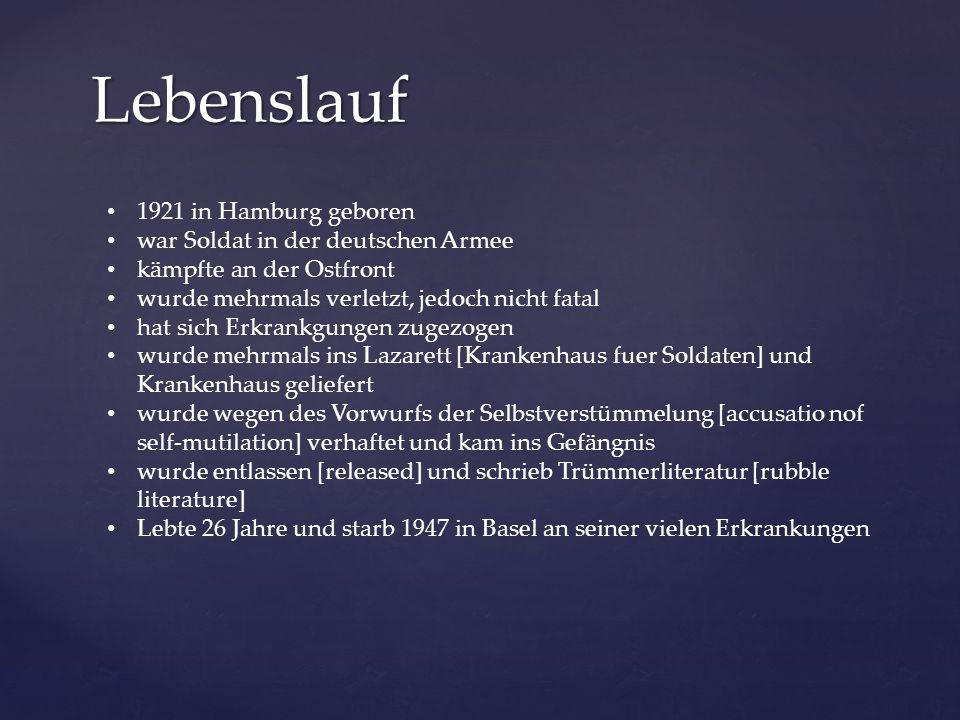 Trümmerliteratur auch als Literatur der Stunde Null Heimkehrerliteratur bekannt nach dem zweiten Weltkrieg, bis Deutschland wieder aufgebaut wurde oft kurze, lakonische Prosa von amerikanischen Short Stories beeinflusst befasst sich mit [deals with] den Schwierigkeiten der deutschen Bürger und heimkehrenden Soldaten nach dem zweiten Weltkrieg Andere bedeutende Schriftsteller der Stunde Null: Heinrich Böll, Erich Kästner, Günter Eich