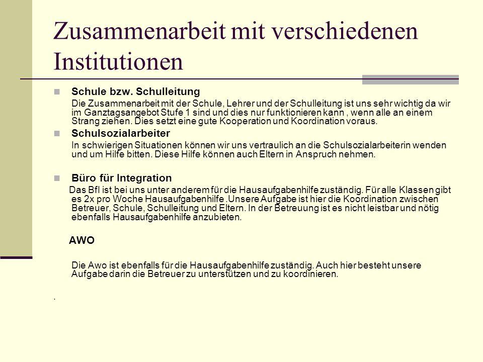 Zusammenarbeit mit verschiedenen Institutionen Schule bzw.