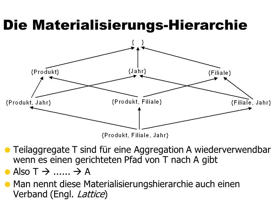 Die Materialisierungs-Hierarchie  Teilaggregate T sind für eine Aggregation A wiederverwendbar wenn es einen gerichteten Pfad von T nach A gibt  Also T ......