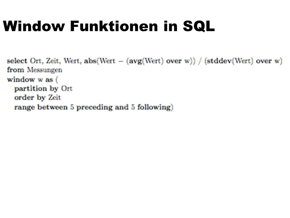 Window Funktionen in SQL