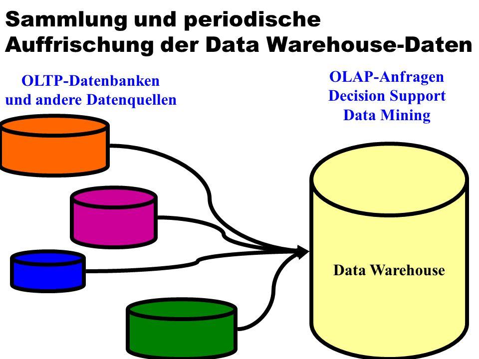 Sammlung und periodische Auffrischung der Data Warehouse-Daten Data Warehouse OLTP-Datenbanken und andere Datenquellen OLAP-Anfragen Decision Support Data Mining