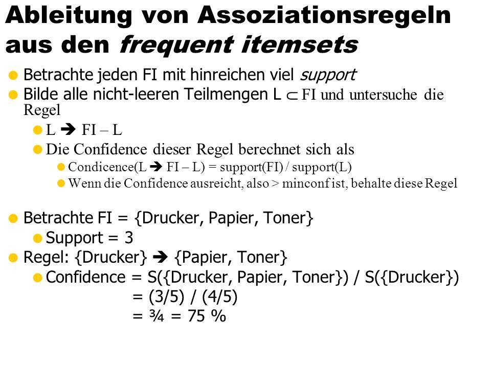 Ableitung von Assoziationsregeln aus den frequent itemsets  Betrachte jeden FI mit hinreichen viel support  Bilde alle nicht-leeren Teilmengen L  FI und untersuche die Regel  L  FI – L  Die Confidence dieser Regel berechnet sich als  Condicence(L  FI – L) = support(FI) / support(L)  Wenn die Confidence ausreicht, also > minconf ist, behalte diese Regel  Betrachte FI = {Drucker, Papier, Toner}  Support = 3  Regel: {Drucker}  {Papier, Toner}  Confidence = S({Drucker, Papier, Toner}) / S({Drucker}) = (3/5) / (4/5) = ¾ = 75 %