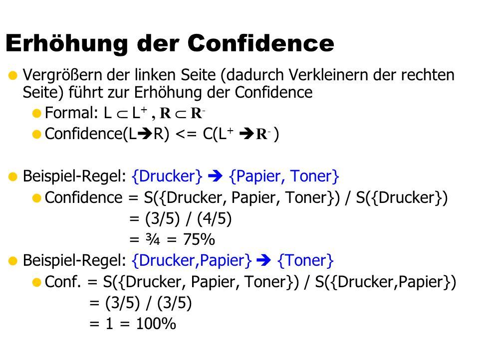 Erhöhung der Confidence  Vergrößern der linken Seite (dadurch Verkleinern der rechten Seite) führt zur Erhöhung der Confidence  Formal: L  L +, R  R -  Confidence(L  R) <= C(L +  R - )  Beispiel-Regel: {Drucker}  {Papier, Toner}  Confidence = S({Drucker, Papier, Toner}) / S({Drucker}) = (3/5) / (4/5) = ¾ = 75%  Beispiel-Regel: {Drucker,Papier}  {Toner}  Conf.