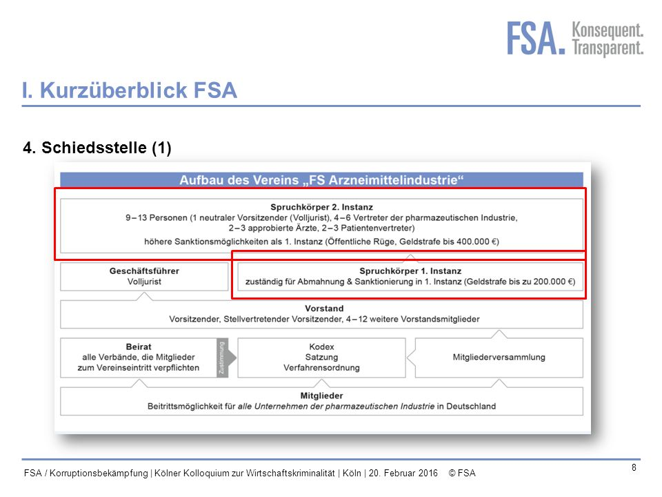 Mastertitelformat bearbeiten 9 FSA / Korruptionsbekämpfung | Kölner Kolloquium zur Wirtschaftskriminalität | Köln | 20.