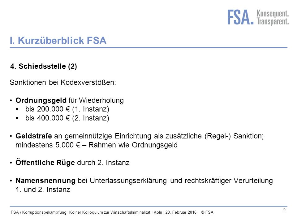 Mastertitelformat bearbeiten 10 FSA / Korruptionsbekämpfung | Kölner Kolloquium zur Wirtschaftskriminalität | Köln | 20.