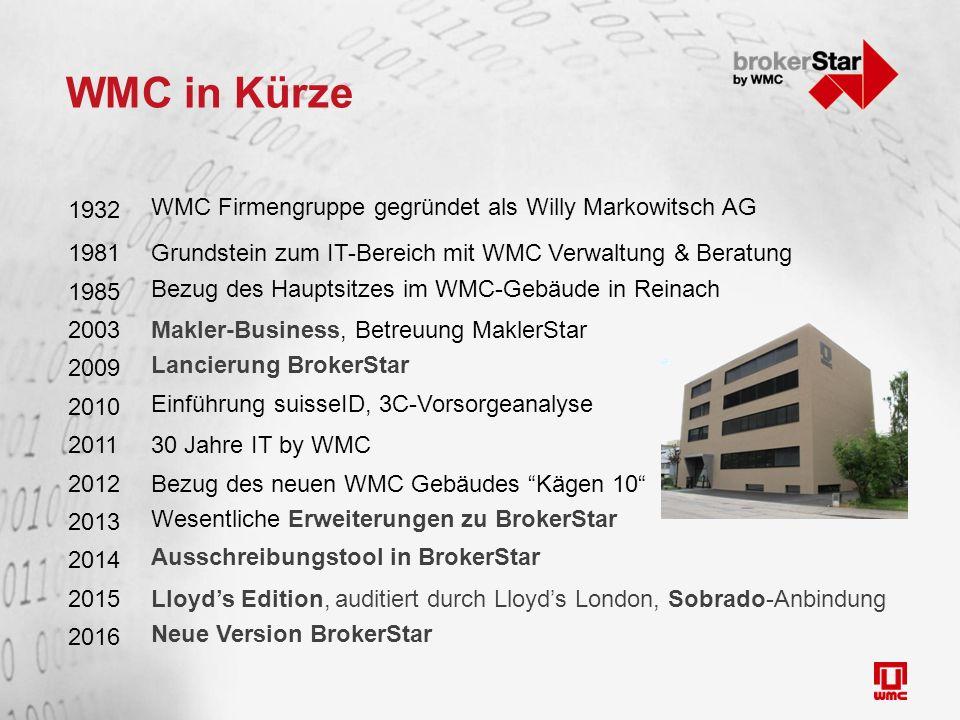 WMC in Kürze 1932 WMC Firmengruppe gegründet als Willy Markowitsch AG 1981Grundstein zum IT-Bereich mit WMC Verwaltung & Beratung 1985 Bezug des Hauptsitzes im WMC-Gebäude in Reinach 2003Makler-Business, Betreuung MaklerStar 2009 Lancierung BrokerStar 2010 Einführung suisseID, 3C-Vorsorgeanalyse 201130 Jahre IT by WMC 2012Bezug des neuen WMC Gebäudes Kägen 10 2013 Wesentliche Erweiterungen zu BrokerStar 2014 Ausschreibungstool in BrokerStar 2015Lloyd's Edition, auditiert durch Lloyd's London, Sobrado-Anbindung 2016 Neue Version BrokerStar