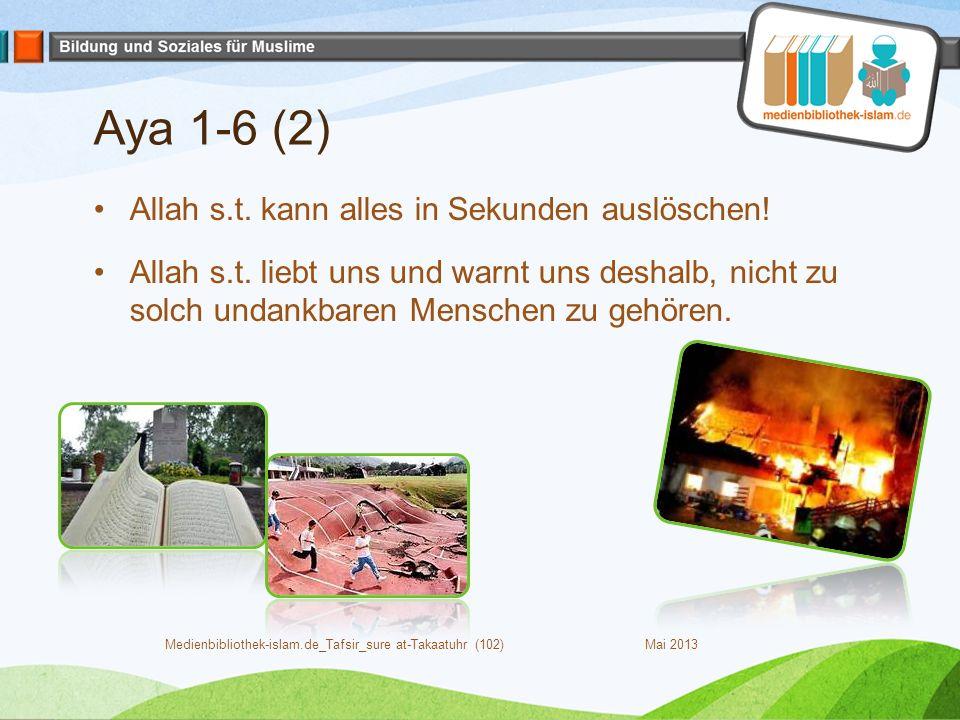 Aya 1-6 (2) Allah s.t. kann alles in Sekunden auslöschen! Allah s.t. liebt uns und warnt uns deshalb, nicht zu solch undankbaren Menschen zu gehören.