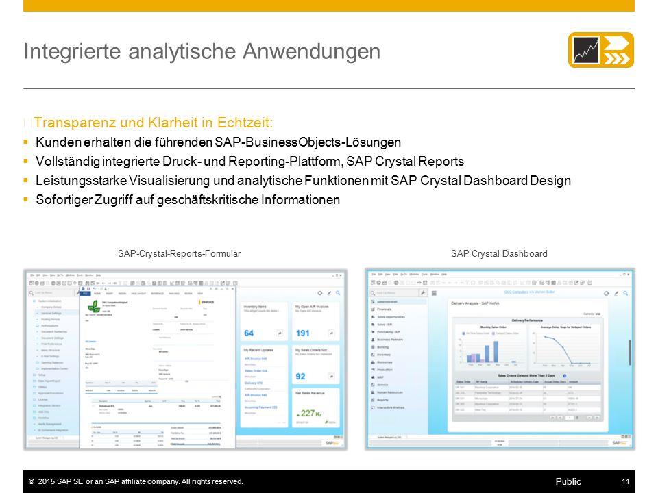 ©2015 SAP SE or an SAP affiliate company. All rights reserved.11 Public Integrierte analytische Anwendungen –Transparenz und Klarheit in Echtzeit:  K