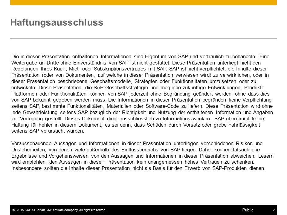 ©2015 SAP SE or an SAP affiliate company. All rights reserved.2 Public Haftungsausschluss Die in dieser Präsentation enthaltenen Informationen sind Ei