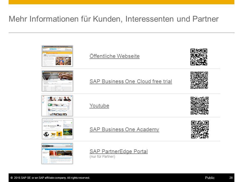 ©2015 SAP SE or an SAP affiliate company. All rights reserved.28 Public Mehr Informationen für Kunden, Interessenten und Partner Öffentliche Webseite