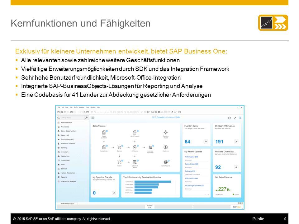 ©2015 SAP SE or an SAP affiliate company. All rights reserved.9 Public Kernfunktionen und Fähigkeiten Exklusiv für kleinere Unternehmen entwickelt, bi