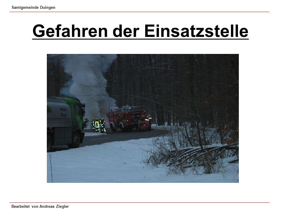 Samtgemeinde Duingen Bearbeitet von Andreas Ziegler Schutz der Einsatzkräfte vor Atemgiften durch: - Umluftabhängige Atemschutzgeräte -Umluftunabhängige Atemschutzgeräte - Körperschutz ( z.B.