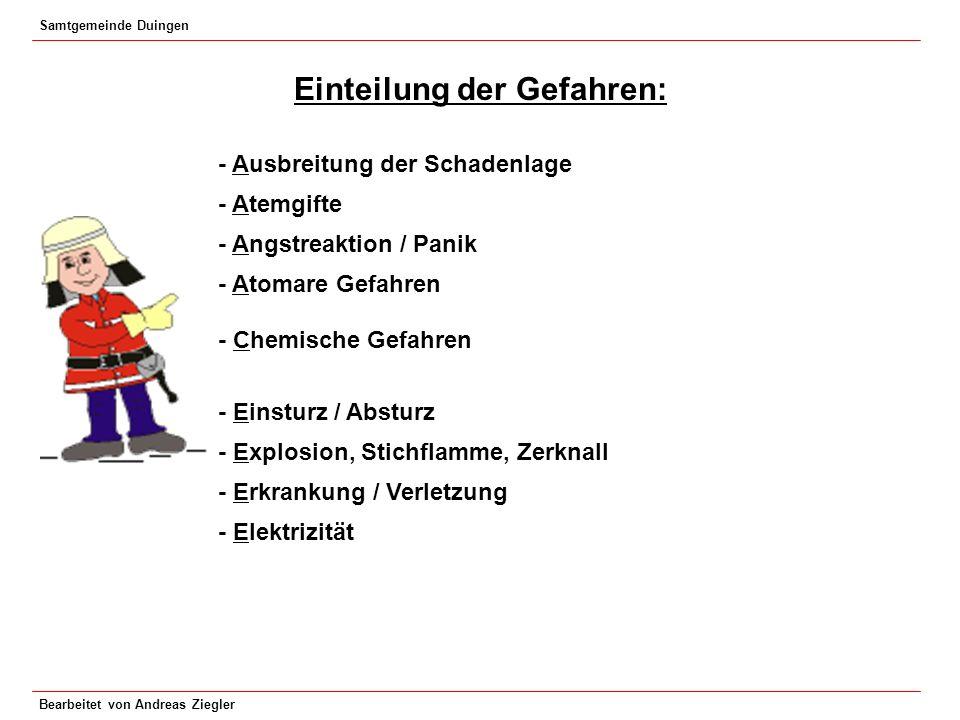 Samtgemeinde Duingen Bearbeitet von Andreas Ziegler Einteilung der Gefahren: - Ausbreitung der Schadenlage - Atemgifte - Angstreaktion / Panik - Atoma