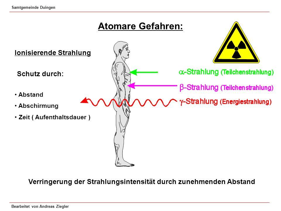Samtgemeinde Duingen Bearbeitet von Andreas Ziegler Atomare Gefahren: Ionisierende Strahlung Schutz durch: Abstand Abschirmung Zeit ( Aufenthaltsdauer