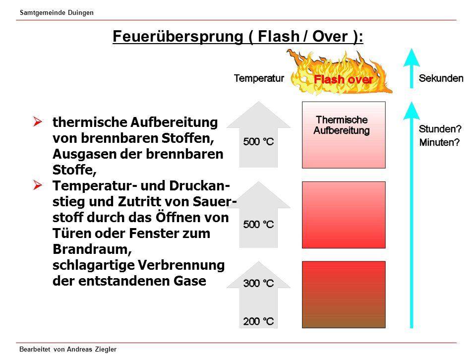 Samtgemeinde Duingen Bearbeitet von Andreas Ziegler Feuerübersprung ( Flash / Over ): thermische Aufbereitung von brennbaren Stoffen, Ausgasen der bre