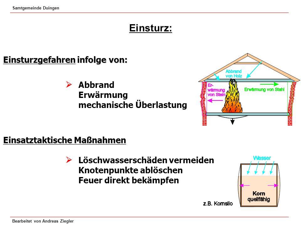 Samtgemeinde Duingen Bearbeitet von Andreas Ziegler Einsturz: Einsturzgefahren infolge von: Abbrand Erwärmung mechanische Überlastung Einsatztaktische