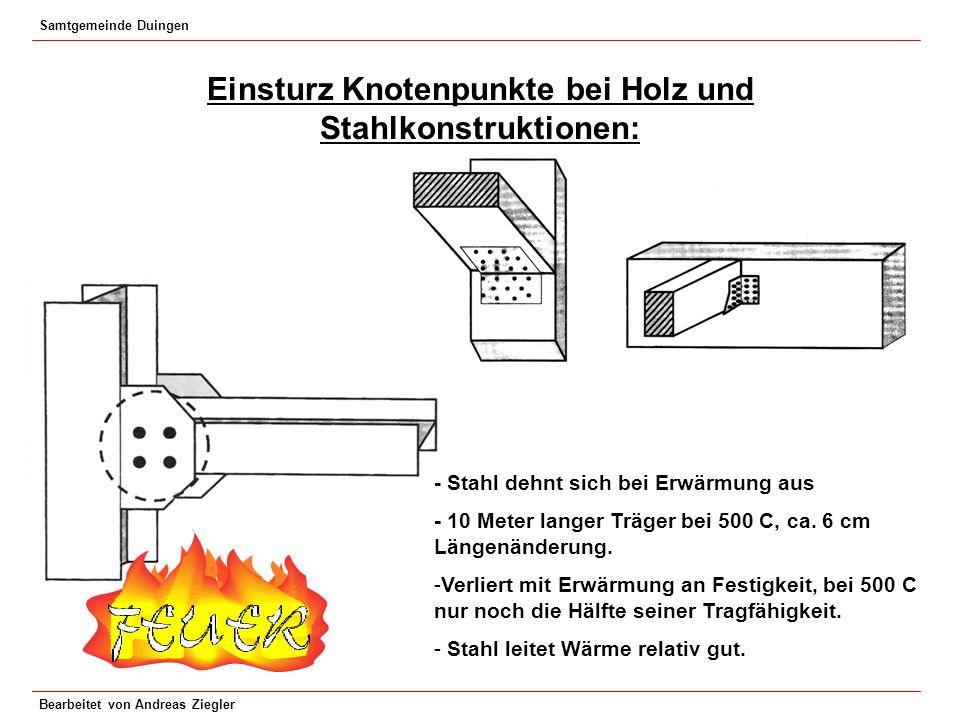 Samtgemeinde Duingen Bearbeitet von Andreas Ziegler Einsturz Knotenpunkte bei Holz und Stahlkonstruktionen: - Stahl dehnt sich bei Erwärmung aus - 10