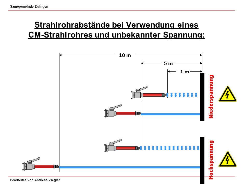 Samtgemeinde Duingen Bearbeitet von Andreas Ziegler Strahlrohrabstände bei Verwendung eines CM-Strahlrohres und unbekannter Spannung: 1 m 5 m 10 m Hoc