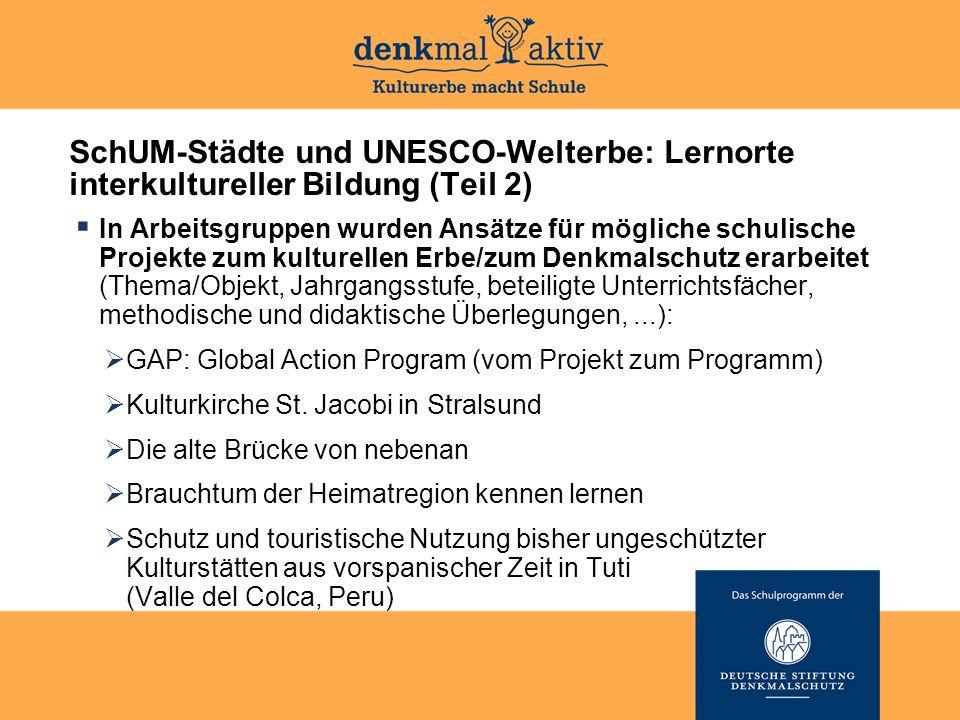 SchUM-Städte und UNESCO-Welterbe: Lernorte interkultureller Bildung (Teil 2)  In Arbeitsgruppen wurden Ansätze für mögliche schulische Projekte zum k