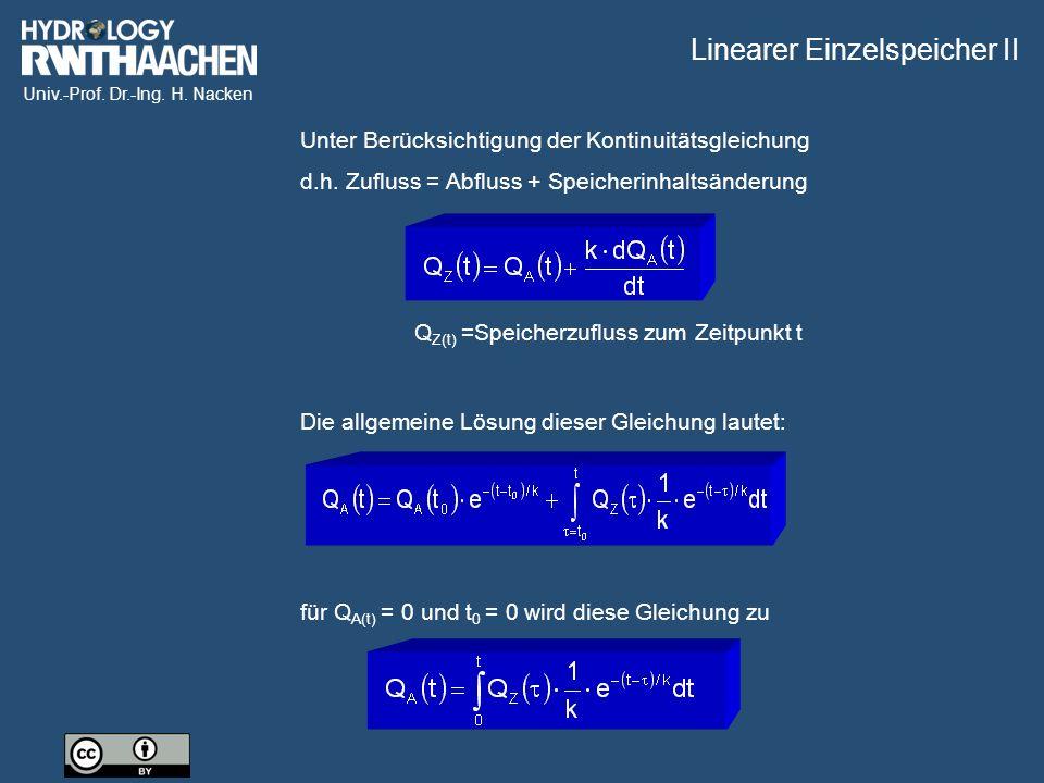 Univ.-Prof.Dr.-Ing. H. Nacken Unter Berücksichtigung der Kontinuitätsgleichung d.h.