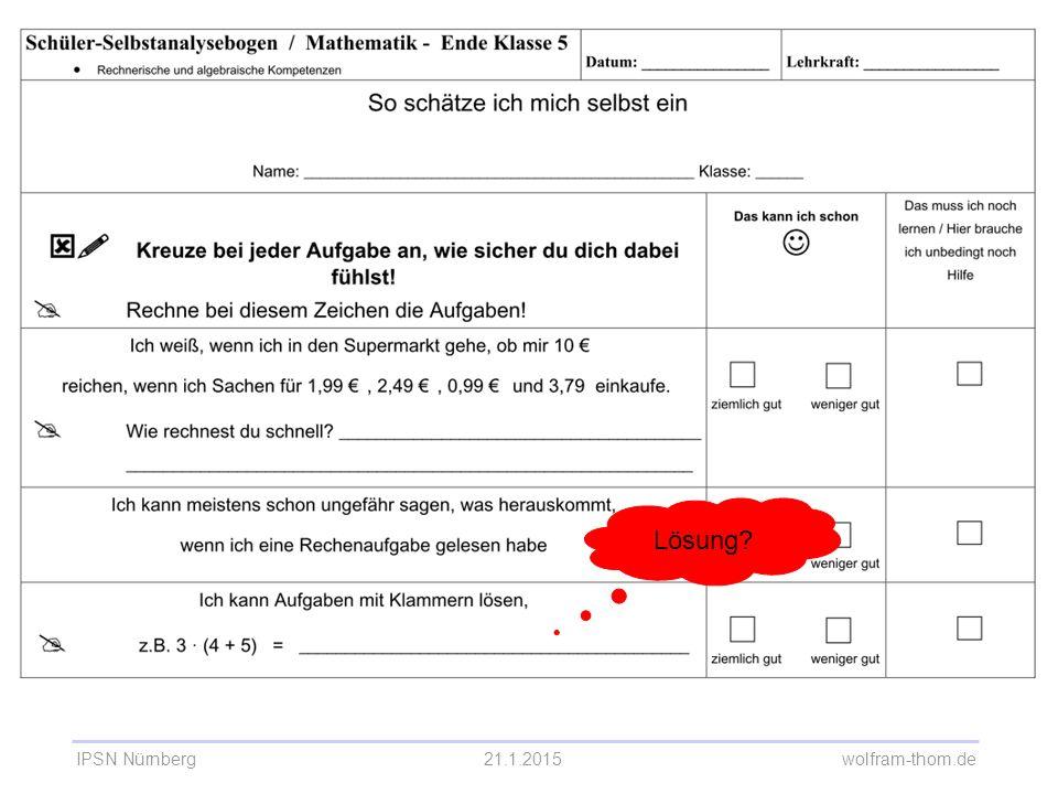 IPSN Nürnberg21.1.2015 wolfram-thom.de Selbsteinschätzungsbogen Mathematik 5. Klasse Lösung?