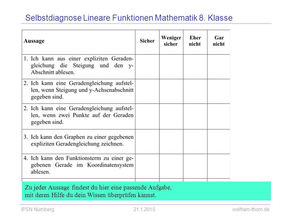 IPSN Nürnberg21.1.2015 wolfram-thom.de Selbstdiagnose Lineare Funktionen Mathematik 8. Klasse Zu jeder Aussage findest du hier eine passende Aufgabe,
