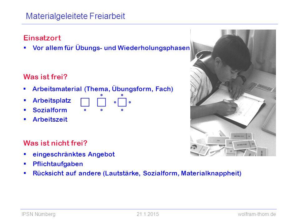 IPSN Nürnberg21.1.2015 wolfram-thom.de Einsatzort  Vor allem für Übungs- und Wiederholungsphasen Was ist frei?  Arbeitsmaterial (Thema, Übungsform,