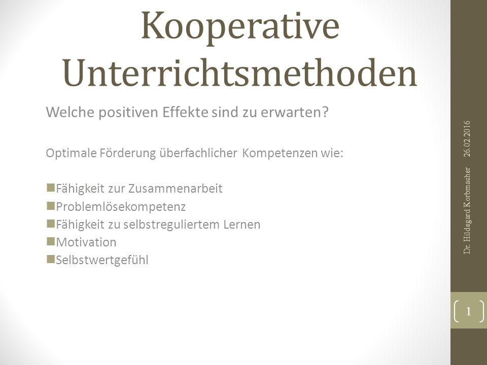 Kooperative Unterrichtsmethoden Welche positiven Effekte sind zu erwarten.