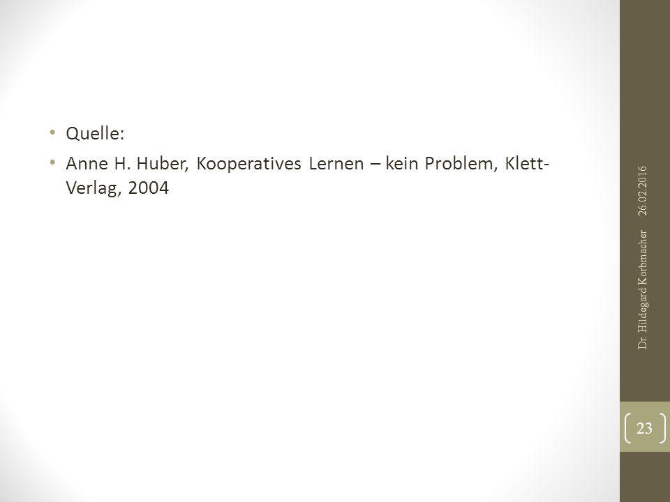 Quelle: Anne H. Huber, Kooperatives Lernen – kein Problem, Klett- Verlag, 2004 23 Dr.