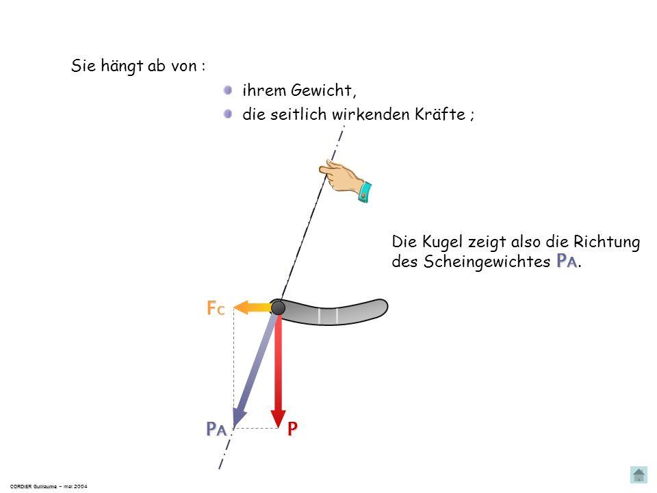 Im Flugzeug ist sie so angebracht, dass ihre symetrische Achse … CORDIER Guillaume CORDIER Guillaume – mai 2004 … parallel zur symetrischen Achse des