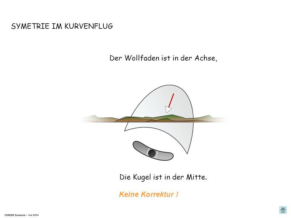 SYMETRIE IM KURVENFLUG CORDIER Guillaume CORDIER Guillaume – mai 2004 Längsachse Kurs Die aerodynamische Strömung verläuft in der Achse des Flugzeugs.