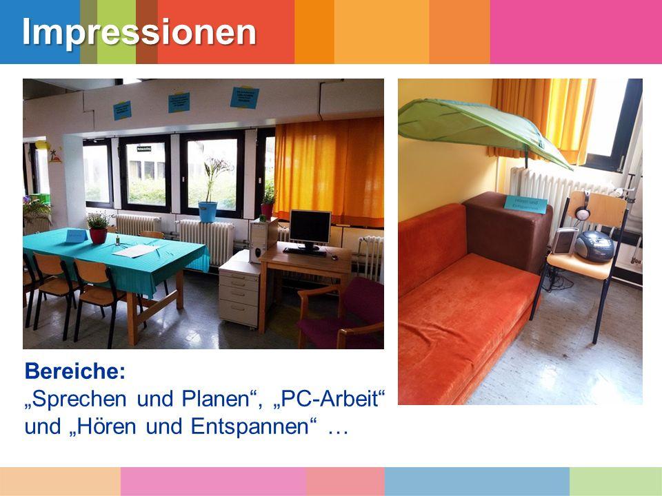"""Impressionen Bereiche: """"Sprechen und Planen"""", """"PC-Arbeit"""" und """"Hören und Entspannen"""" …"""