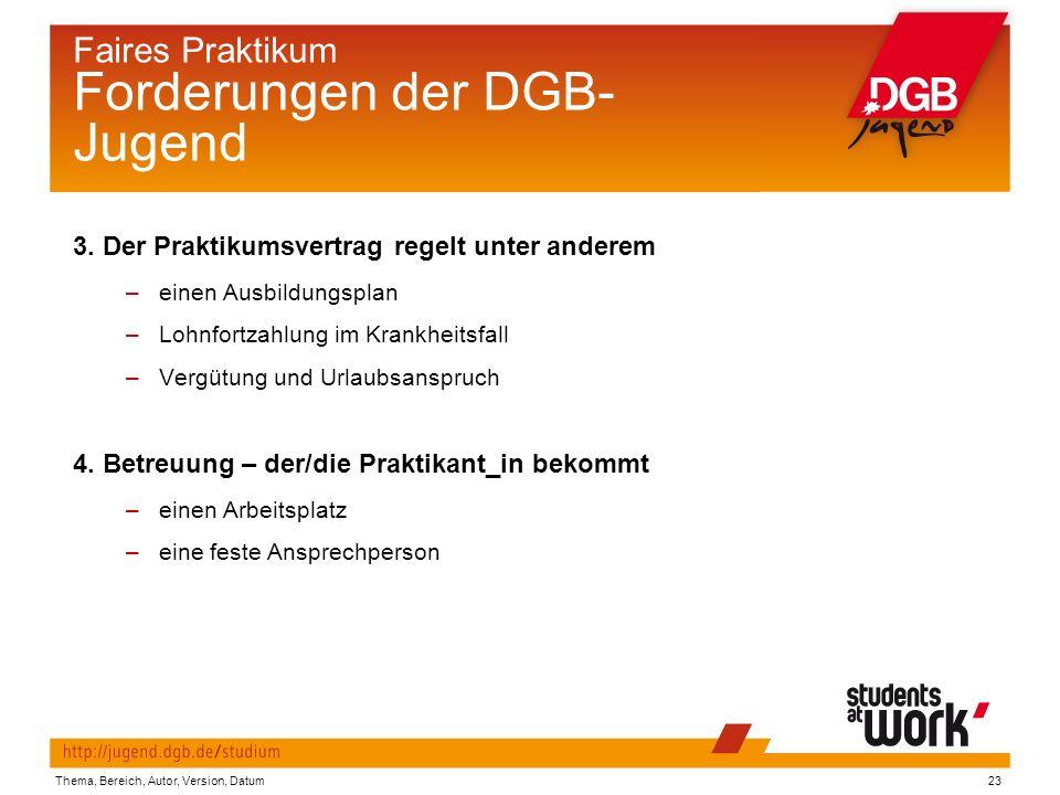 Thema, Bereich, Autor, Version, Datum23 Faires Praktikum Forderungen der DGB- Jugend 3.