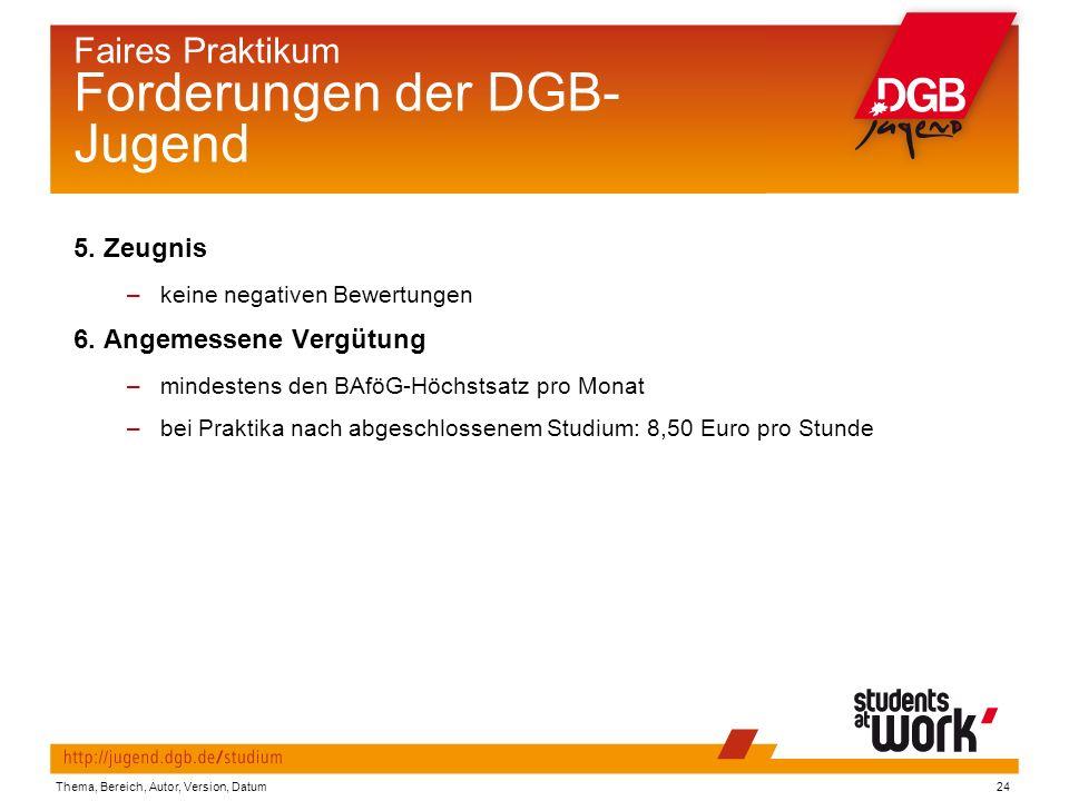 Thema, Bereich, Autor, Version, Datum24 Faires Praktikum Forderungen der DGB- Jugend 5.