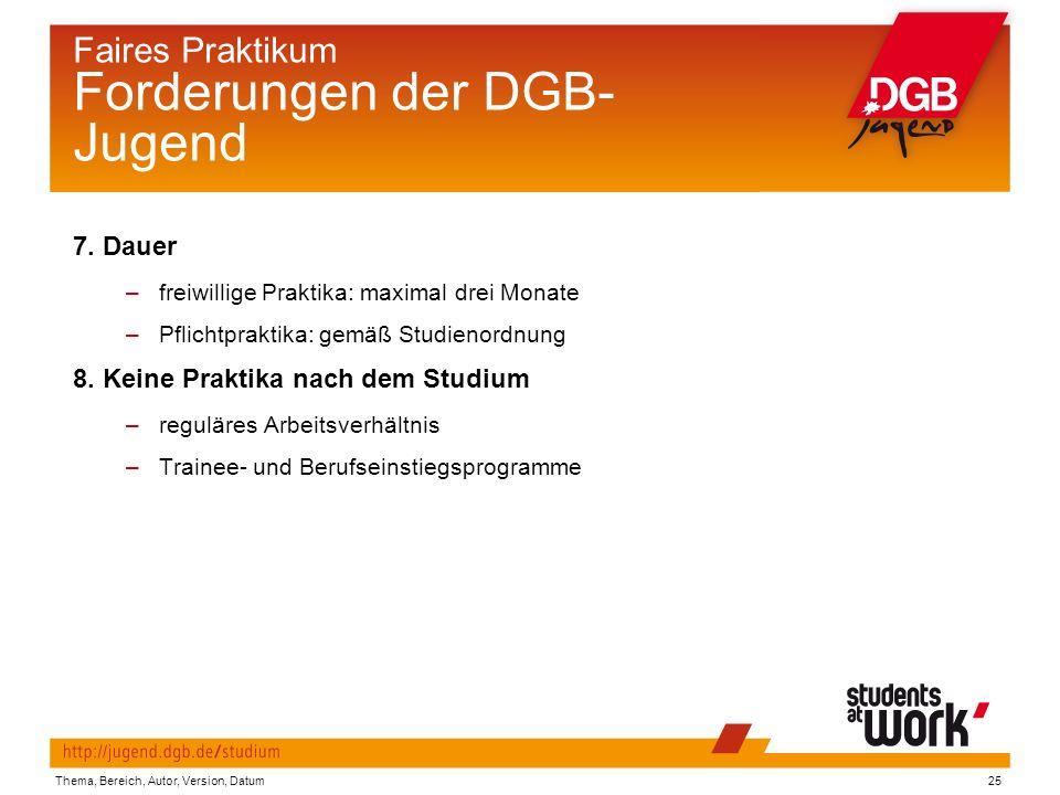 Thema, Bereich, Autor, Version, Datum25 Faires Praktikum Forderungen der DGB- Jugend 7.