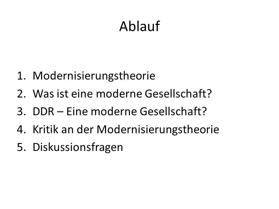 Ablauf 1.Modernisierungstheorie 2.Was ist eine moderne Gesellschaft? 3.DDR – Eine moderne Gesellschaft? 4.Kritik an der Modernisierungstheorie 5.Disku