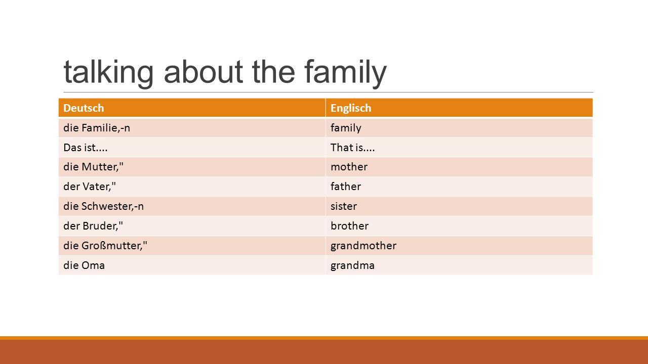talking about the family DeutschEnglisch der Großvater, grandfather der Opagrandpa die Tante,-naunt der Onkel,-uncle die Kusine,-ncousin (female) der Cousin,-scousin (male) das Haustier,-epet der Hund,-edog