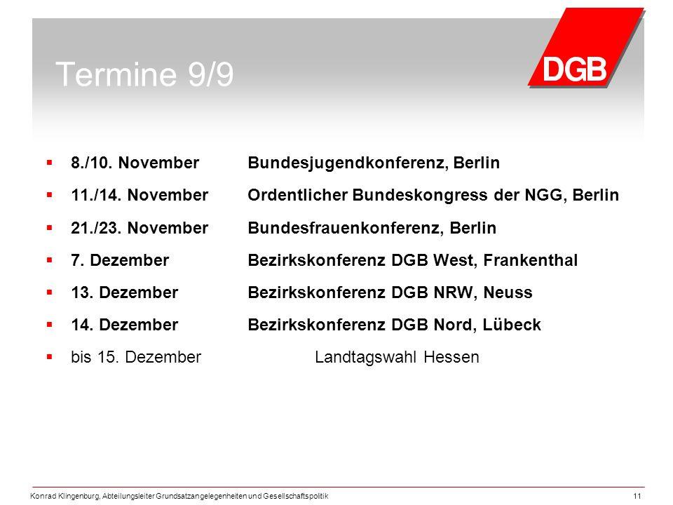 Konrad Klingenburg, Abteilungsleiter Grundsatzangelegenheiten und Gesellschaftspolitik11 Termine 9/9  8./10.
