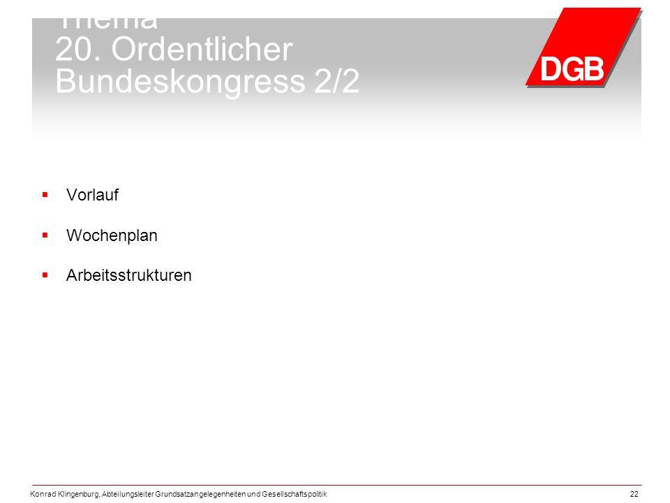 Konrad Klingenburg, Abteilungsleiter Grundsatzangelegenheiten und Gesellschaftspolitik22 Thema 20.