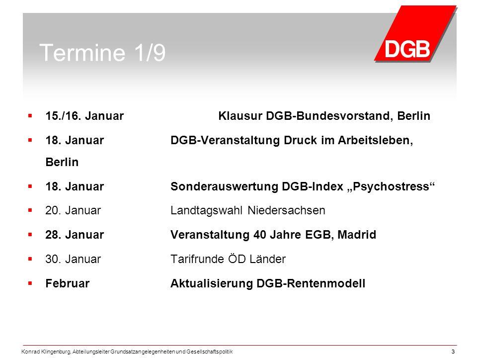 Konrad Klingenburg, Abteilungsleiter Grundsatzangelegenheiten und Gesellschaftspolitik33 Termine 1/9  15./16.