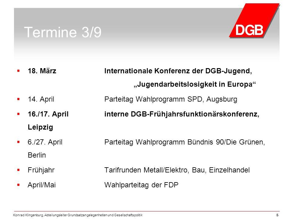 Konrad Klingenburg, Abteilungsleiter Grundsatzangelegenheiten und Gesellschaftspolitik55 Termine 3/9  18.