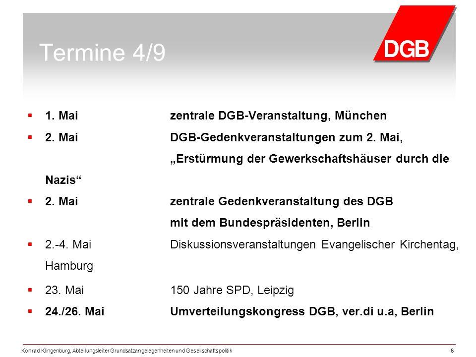 Konrad Klingenburg, Abteilungsleiter Grundsatzangelegenheiten und Gesellschaftspolitik66 Termine 4/9  1.