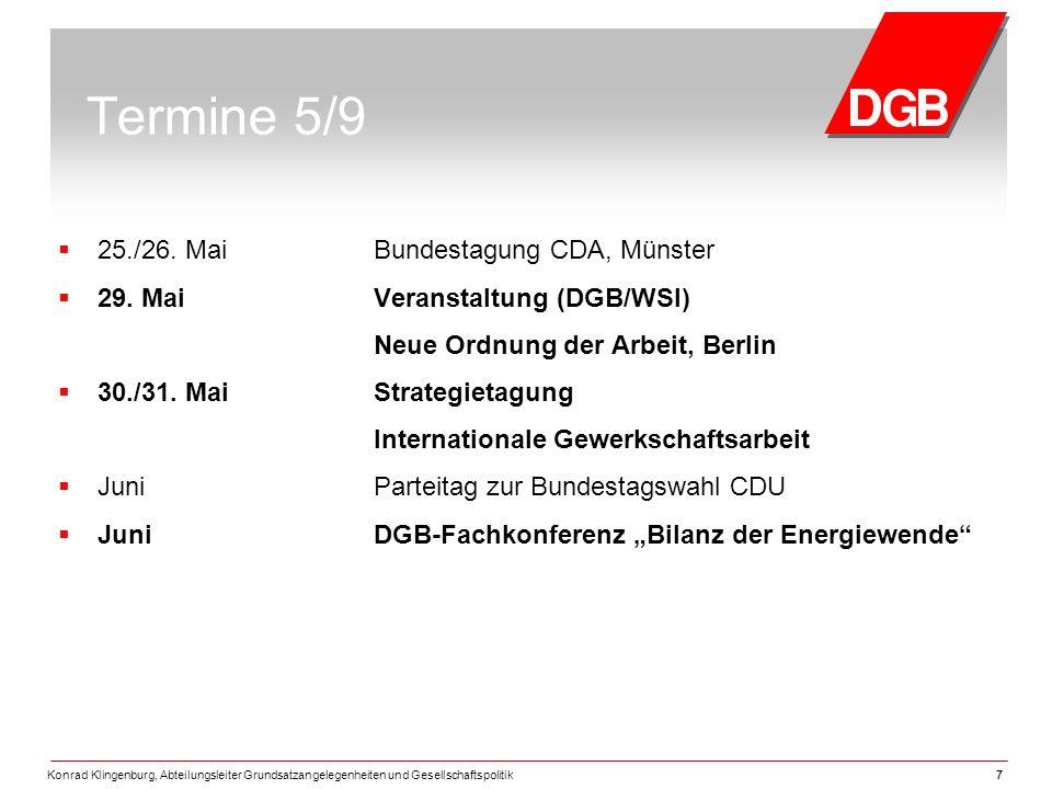 Konrad Klingenburg, Abteilungsleiter Grundsatzangelegenheiten und Gesellschaftspolitik77 Termine 5/9  25./26.