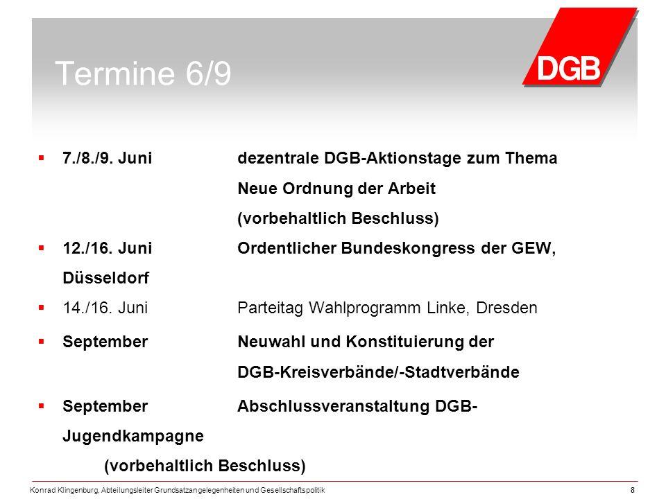 Konrad Klingenburg, Abteilungsleiter Grundsatzangelegenheiten und Gesellschaftspolitik88 Termine 6/9  7./8./9.