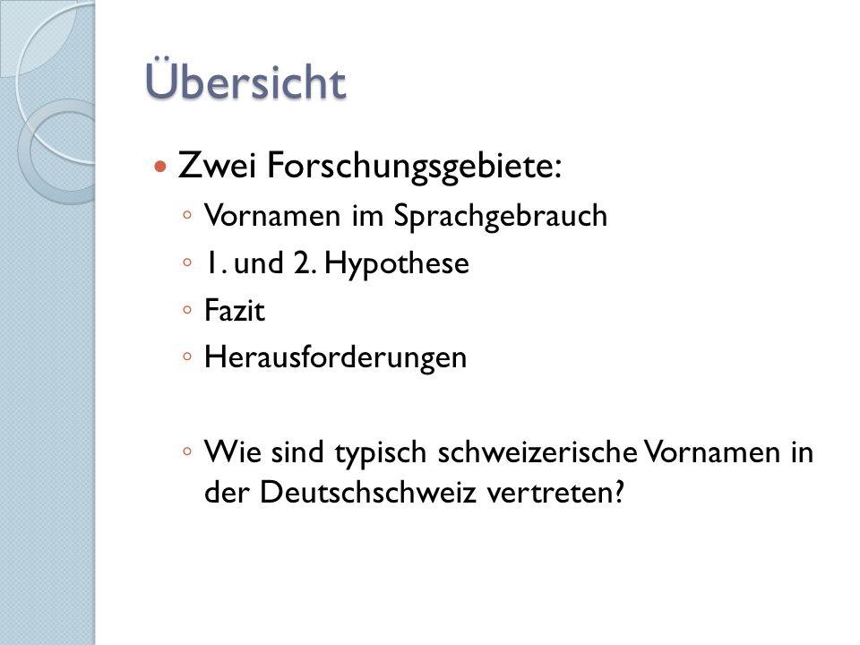 Übersicht Zwei Forschungsgebiete: ◦ Vornamen im Sprachgebrauch ◦ 1.
