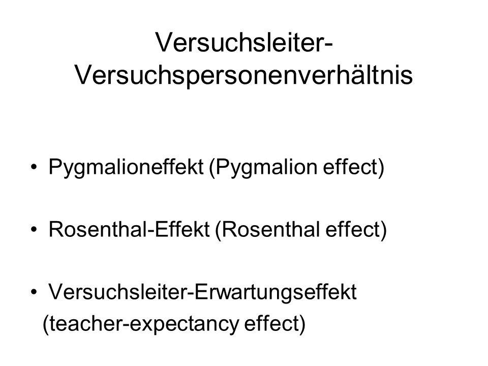 Versuchsleiter- Versuchspersonenverhältnis Pygmalioneffekt (Pygmalion effect) Rosenthal-Effekt (Rosenthal effect) Versuchsleiter-Erwartungseffekt (teacher-expectancy effect)